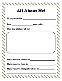 All About Me - Freebie