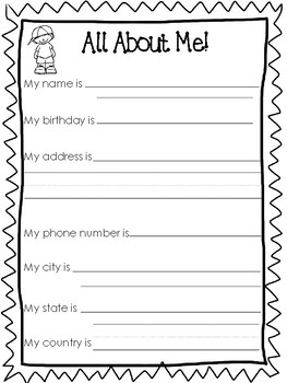 6 all about me printable worksheets preschool 5th grade writing. Black Bedroom Furniture Sets. Home Design Ideas
