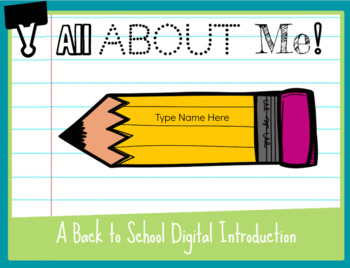 All About Me: A Back to School Digital Introduction