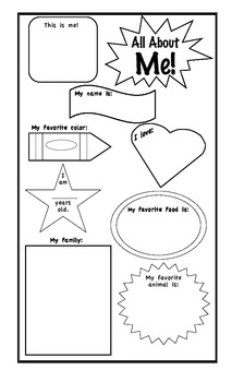 All About Me: A Beginning of the Year Activity