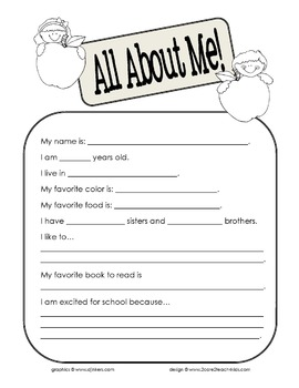 All About Me- A Getting to Know You Activity