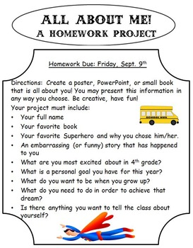 All About Me: A Homework Project for the Back to School