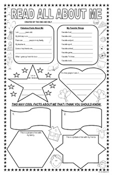 All About Me….. A September Getting to Know Your Students Poster