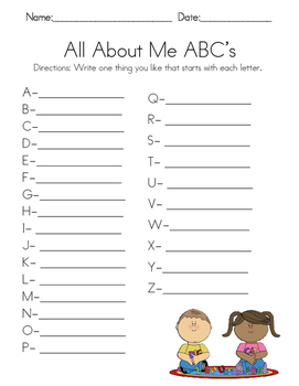 All About Me ABC's