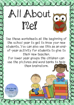 All About Me Activity