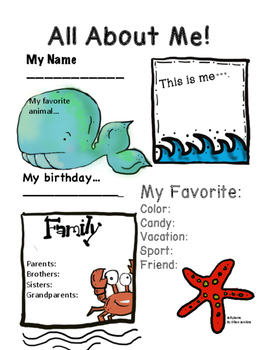 All About Me Activity (Beach/ OceanTheme) By JellyJams ~No Prep