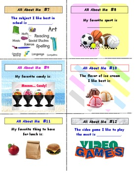 All About Me Activity Cards AND Lesson Plan