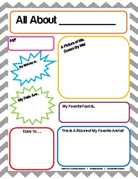 All About Me Activity Page for Students