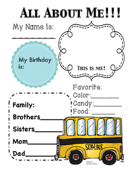 All About Me Activity for Back to School By Jelly Jams