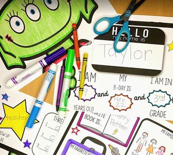 All About Me Alien Craftivity: Print and Go Activity for the First Day of School