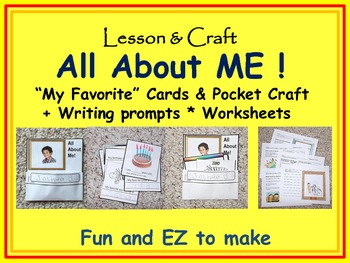 All About Me! All About Me pocket craft, writing prompts,