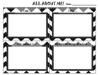 All About Me- An Activity for the first day of school/speech