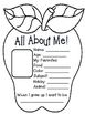 """All About Me """"Apple Theme"""" Activity"""