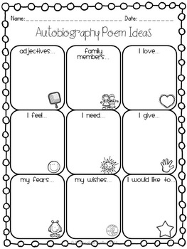 """All About Me"" Autobiography Poem Example & Graphic Organizer"