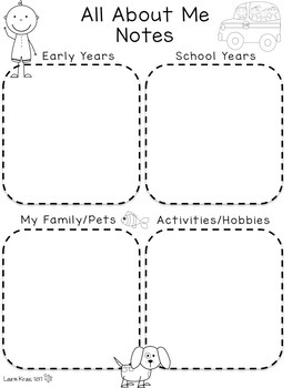 Autobiography Writing Project and Activities - All About Me