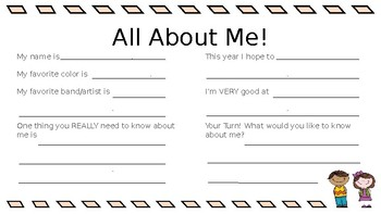All About Me - BOY Student Interest Survey