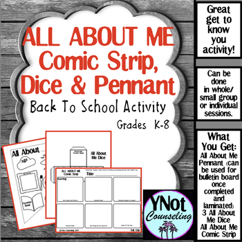 All About Me Pennant Dice & Comic Strip for Back To School