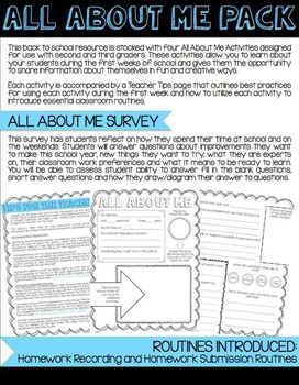 All About Me Back To School Activities Pack