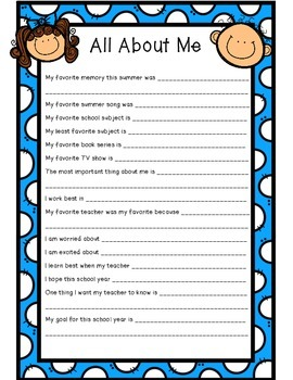 All About Me Back To School Student Survey