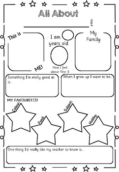 All About Me - Back to School Activity!