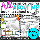 All About Me! Back to School Activity   Editable Version Included