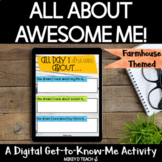 All About Me | Back to School Activity | Farmhouse Theme |