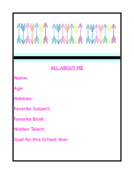 All About Me: Back to School Activity, Ice Breaker