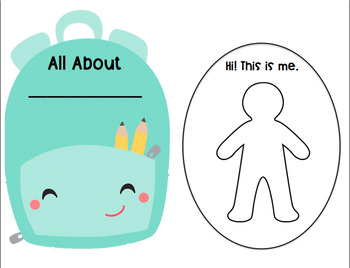 All About Me - Back to School Activity Set with Color Picture Choices