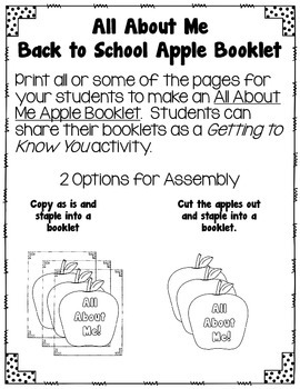 All About Me Back to School Apple Booklet