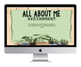 All About Me Back to School Assignment - Google Slides - Succulent and Greenery
