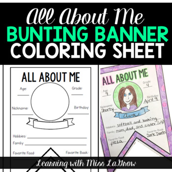All About Me Back to School Bunting Pennant Banner Sheet Get to Know You