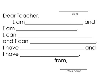 All About Me Back to School Getting to Know You Writing Activity