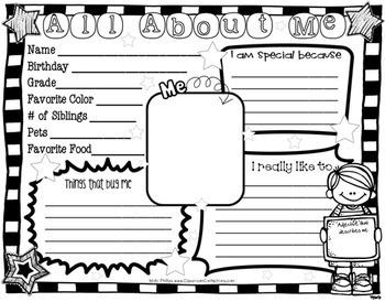 All About Me by Elementary Lesson Plans | Teachers Pay Teachers