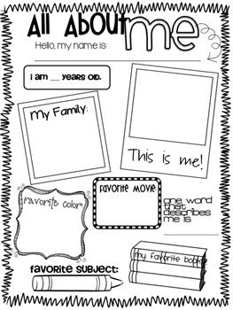 All About Me - Back to School Poster