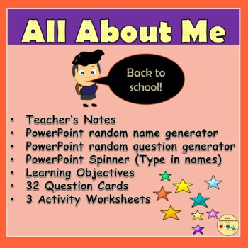 All About Me/Back to School: PowerPoint Generator, Worksheets, Question Cards