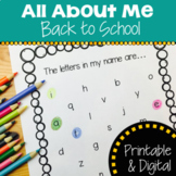All About Me | Back to School | Printable and Google Slides