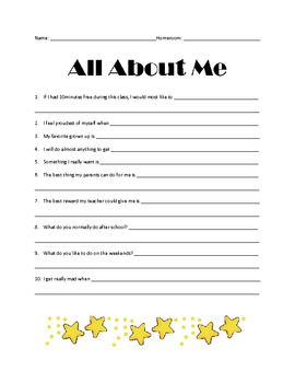 All About Me - Back to School Questionnaire