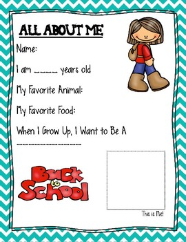 All About Me, Back to School, Simple