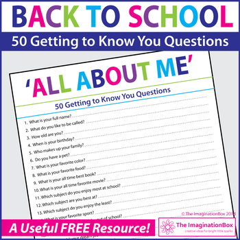 FREE Back to School 50 questions 'All about Me' student survey