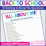 FREE All About Me Questionnaire | Getting To Know You Activity