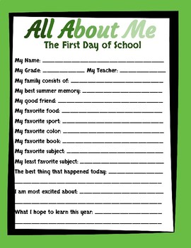 All About Me - Back to School Survey