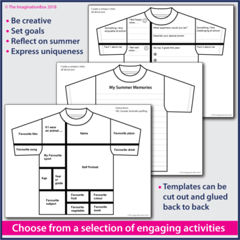 All About Me Back to School T Shirt Art \u0026 Writing Activity