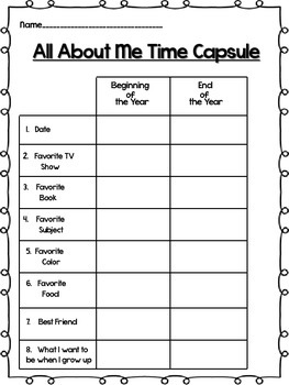 All About Me Back to School Time Capsule