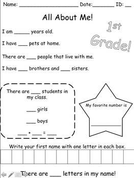 All About Me - Back to School Worksheets