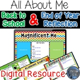 All About Me Digital Back to School and End of Year Reflection