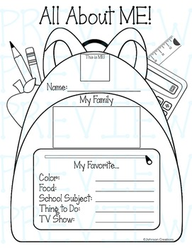 All About Me Backpack Poster
