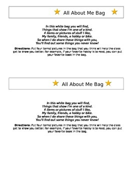 """All About Me Bag"""