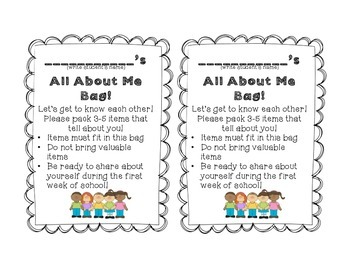 image about All About Me Bag Printable named All Above Me Bag