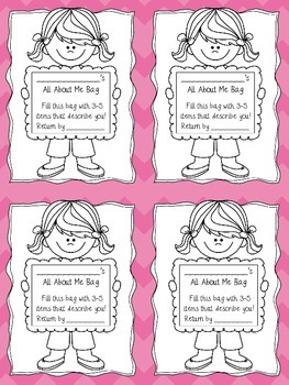 All About Me Bag Tags - Beginning of the Year Introductions