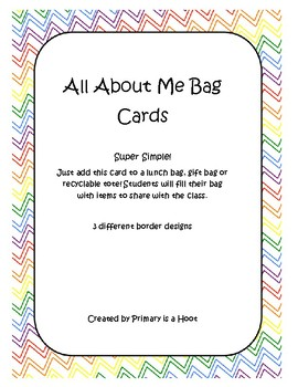 All About Me Bag cards